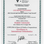 diploma di laurea in :EXCELLENCE IN INTERNATIONAL ORTHODONTICS
